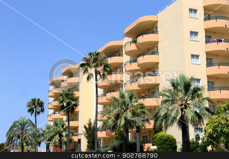 Old tourist hotel stock photo, Old tourist hotel on island of Majorca, Spain. by Martin Crowdy