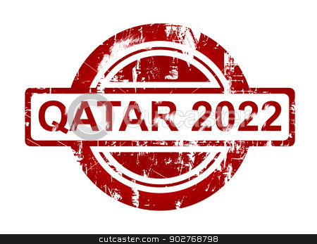 Qatar 2022 stamp stock photo, Qatar 2022 stamp isolated on white background. by Martin Crowdy