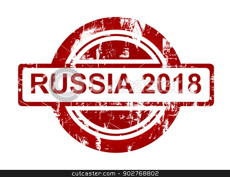 Russia 2018 stamp stock photo, Russia 2018 stamp isolated on white background. by Martin Crowdy