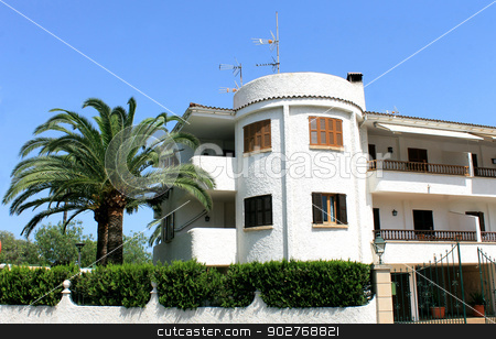 White Spanish home stock photo, Exterior of white Spanish home, Majorca, Spain. by Martin Crowdy