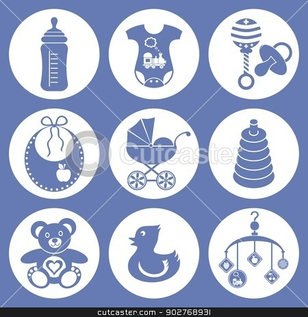 Baby icons stock vector clipart, set of baby boy icons by blumer