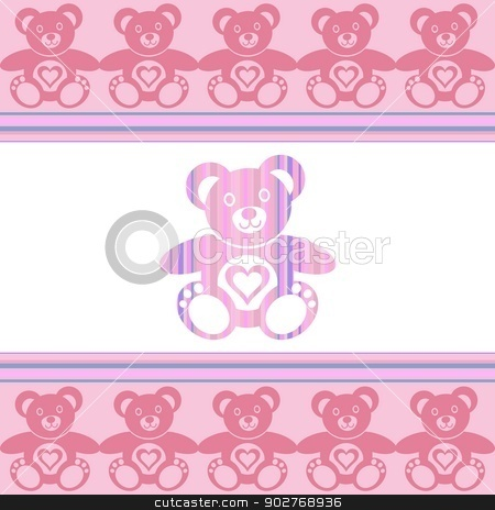 Teddy bear stock vector clipart, pink teddy bear with teddy bears around by blumer