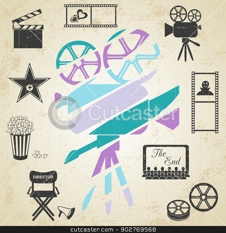 Old colorful movie camera  stock vector clipart, Old colorful movie camera with movie icons on retro grunge background by blumer