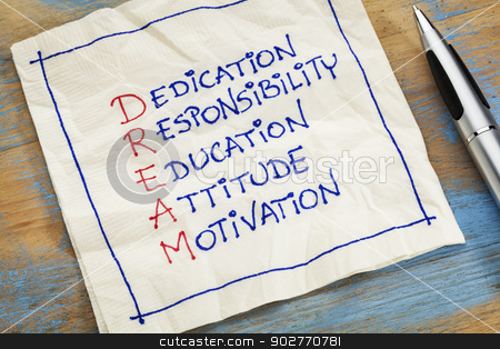dream acronym on a napkin stock photo, dedication, responsibility, education, attitude, motivation - DREAM acronym - a napkin doodle by Marek Uliasz