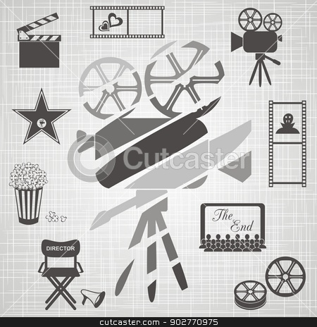 Old colorful movie camera  stock vector clipart, Old black and white movie camera with movie icons on retro background by blumer