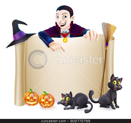 Halloween Dracula Banner stock vector clipart, A Halloween scroll sign with a Dracula vampire character above the banner, pumpkins and witch's cats, hat and broomstick by Christos Georghiou