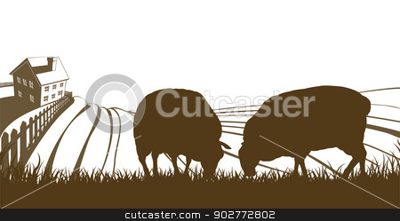 Sheep Farm Rolling Hills Landscape stock vector clipart, Farm rolling hills landscape with farmhouse and sheep feeding on grass in silhouette by Christos Georghiou