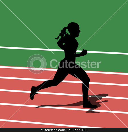 Running silhouettes in sport stadium. Vector illustration. stock vector clipart, Running silhouettes in sport stadium. Vector illustration. by aarrows