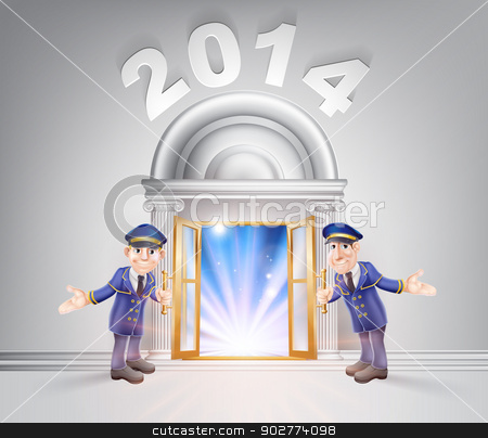 New Year Door 2014 and Doormen stock vector clipart, New Year Door 2014 concept of a doormen hoding open a door to the new year with light streaming through it. by Christos Georghiou