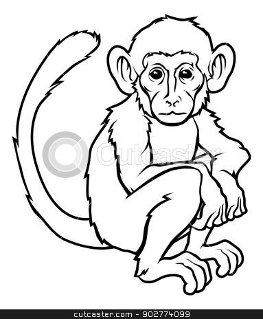 Stylised monkey illustration stock vector clipart, An illustration of a stylised monkey perhaps a monkey tattoo by Christos Georghiou