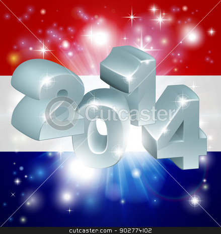 2014 dutch flag stock vector clipart, Flag of the Netherlands 2014 background. New Year or similar concept by Christos Georghiou