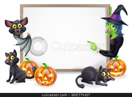 Witch and Vampire Bat Halloween Sign stock vector clipart, Halloween sign or banner with orange Halloween pumpkins and black witch's cats, witch's broom stick and cartoon witch and vampire bat characters  by Christos Georghiou
