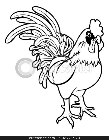 Stylised rooster illustration stock vector clipart, An illustration of a stylised rooster or cockerel perhaps a rooster tattoo by Christos Georghiou
