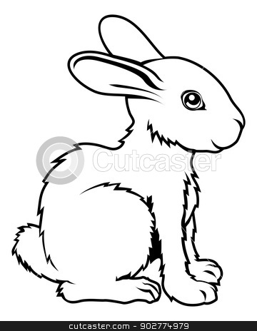 Stylised rabbit illustration stock vector clipart, An illustration of a stylised rabbit perhaps a rabbit tattoo by Christos Georghiou