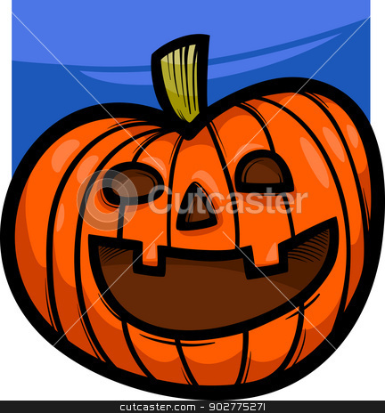 halloween pumpkin cartoon illustration stock vector clipart, Cartoon Illustration of Spooky Halloween Pumpkin Clip Art by Igor Zakowski