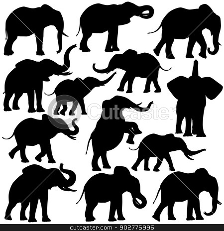 African elephants stock vector clipart, Set of editable vector silhouettes of African elephants in various poses by Robert Adrian Hillman