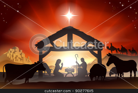 Christmas Nativity Scene stock vector clipart, Christmas Christian nativity scene with baby Jesus in the manger in silhouette, three wise men or kings, farm animals and star of Bethlehem by Christos Georghiou