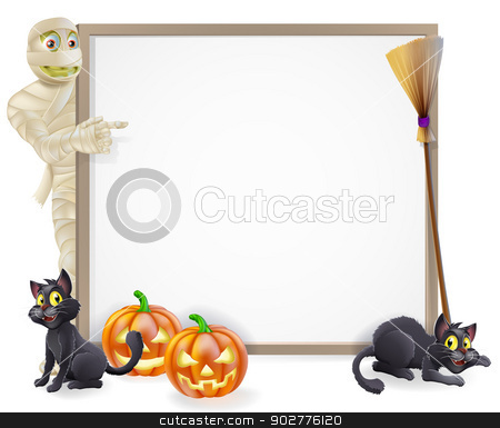 Mummy Halloween Banner Sign stock vector clipart, Halloween sign or banner with orange Halloween pumpkins and black witch's cats, witch's broom stick and cartoon mummy monster character  by Christos Georghiou