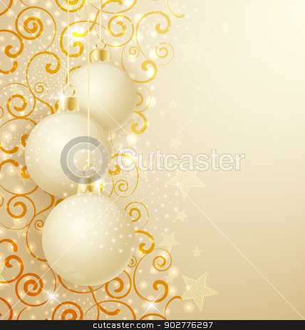 Christmas balls stock vector clipart, Golden christmas background with Christmas balls and swirls by Miroslava Hlavacova