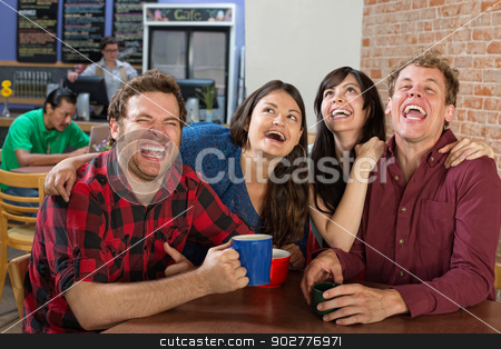 Hysterical Group of People stock photo, Young group of hipsters laughing hysterically by Scott Griessel