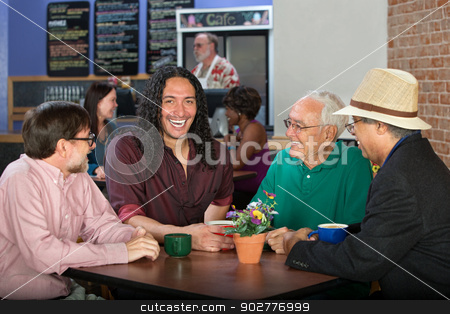 Diverse Men in Cafe stock photo, Men from various ethnic groups and ages in cafe by Scott Griessel