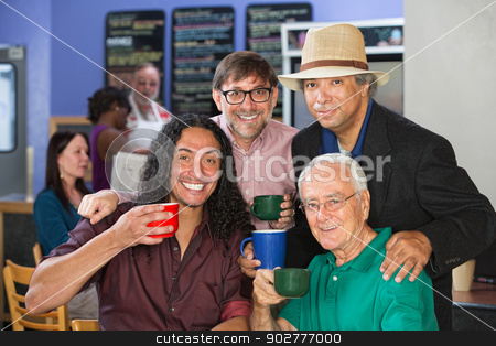 Diverse Group with Coffee Mugs stock photo, Four diverse adults smiling with coffee mugs by Scott Griessel