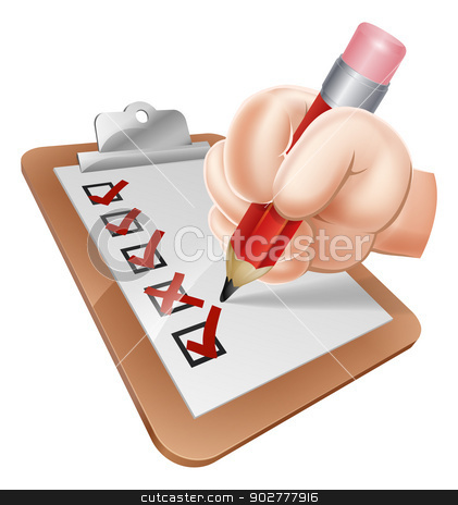 Cartoon Hand and Survey Clipboard stock vector clipart, An illustration of a cartoon hand writing on a survey clipboard by Christos Georghiou
