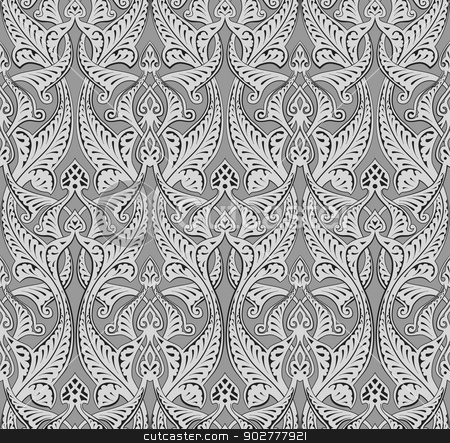Abstract seamless art nouveau pattern stock vector clipart, Illustration of seamlessly tiling repeat art nouveau background pattern by Christos Georghiou
