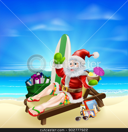 Surf Summer Santa stock vector clipart, Santa Christmas illustration. Santa relaxing in on the beach with a surf board, bag of gifts and other holiday items ans a tropical drink, wearing board shorts and flip flop sandals. by Christos Georghiou