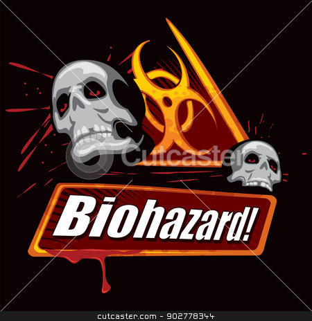 Biohazard symbol stock vector clipart, Biohazard warning with skulls created in graffiti style by Oxygen64