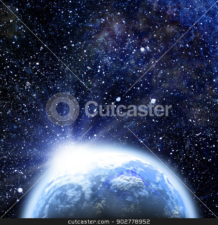 Rising sun over the Earth planet, abstract backgrounds stock photo, Rising sun over the Earth planet, abstract backgrounds by tolokonov