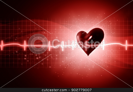 ECG abstract backgrounds with human 3D rendered heart stock photo, ECG abstract backgrounds with human 3D rendered heart by tolokonov