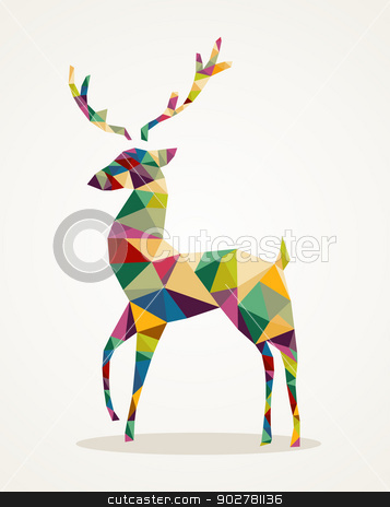 Merry Christmas trendy abstract reindeer EPS10 file. stock vector clipart, Isolated Merry Christmas colorful abstract reindeer with geometric composition. EPS10 vector file organized in layers for easy editing. by Cienpies Design