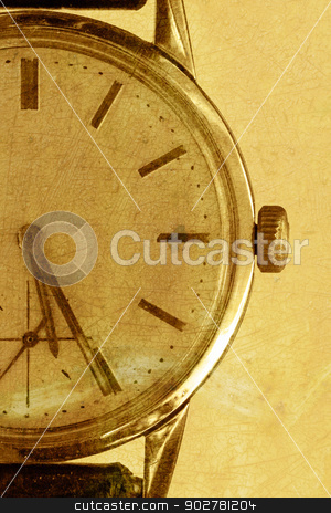 Old watch on a gold grunge background stock photo, Old watch on a grunge sepia background by steve ball