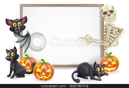 Halloween Sign with Skeleton and Bat stock vector clipart, Halloween sign or banner with orange Halloween pumpkins and black witch's cats, witch's broom stick and cartoon skeleton and vampire bat characters  by Christos Georghiou