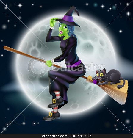 Halloween Witch 2013 E1 stock vector clipart, A happy cartoon Halloween witch flying on her broom stick with her black cat and a full moon in the background by Christos Georghiou