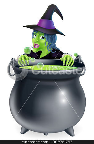 Witch and Cauldron Cartoon stock vector clipart, A cartoon witch character peeking over a bubbling witch's brew in a big cauldron  by Christos Georghiou