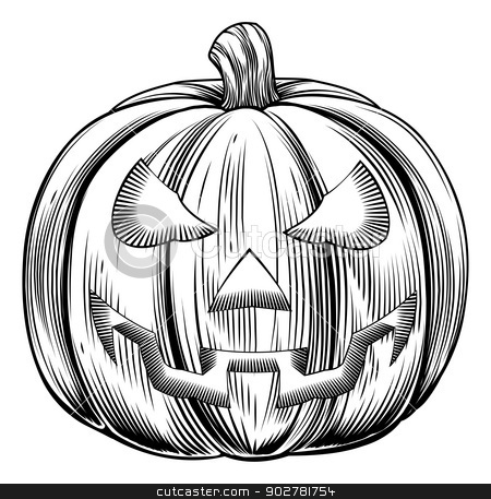 Vintage halloween pumpkin stock vector clipart, An illustration of a Halloween pumpkin in a retro vintage woodblock or woodcut etching style by Christos Georghiou