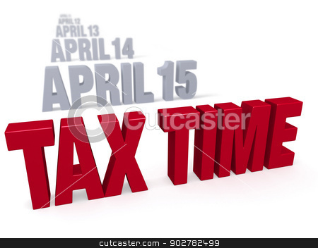 Tax Time Approaches stock photo, Sharp focus on bold, red