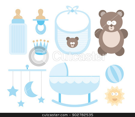 Baby icon set / Child stuff stock vector clipart, Baby icon set / Child stuff by Curvabezier