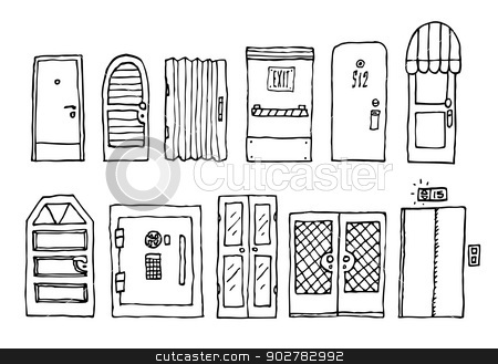 Doors and entrance set stock vector clipart, Doors and entrance set by Curvabezier