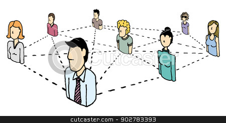 People Network / Social and business connections stock vector clipart, People Network / Social and business connections by Curvabezier