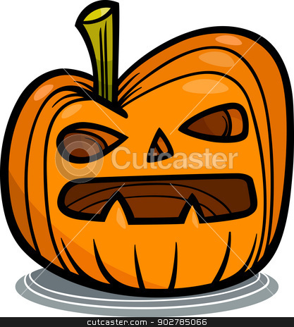 halloween pumpkin cartoon illustration stock vector clipart, Cartoon Illustration of Spooky Halloween Pumpkin Clip Art by Igor Zakowski