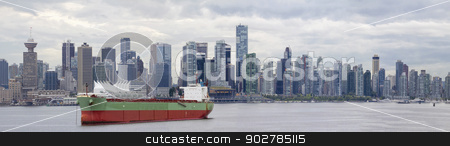 Vancouver BC Skyline Along False Creek stock photo, Vancouver BC Canada City Skyline Alone False Creek with Container Ship Panorama by Jit Lim
