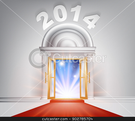 New Year Door 2014 Concept stock vector clipart, New Year Door 2014 concept of a fantastic white marble door with columns and a red carpet with light streaming through it. by Christos Georghiou