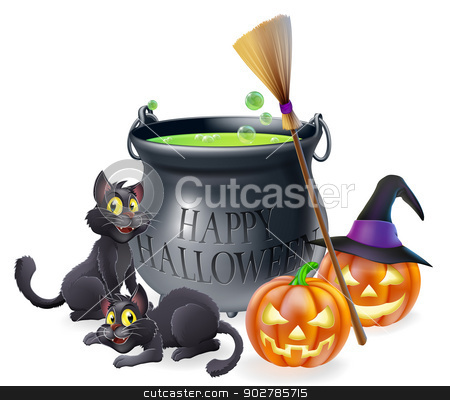 Happy Halloween Cartoon Illustration stock vector clipart, A happy Halloween cartoon illustration of witches cauldron, cats and carved pumpkins by Christos Georghiou