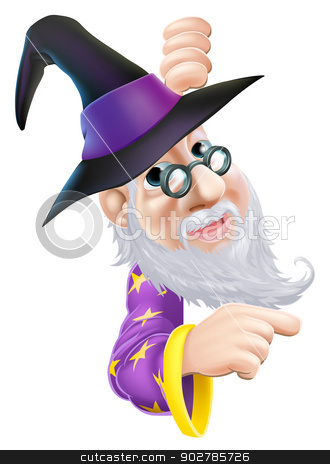 Wizard peeping round sign stock vector clipart, A cartoon wizard character peeping round a sign or banner and pointing by Christos Georghiou