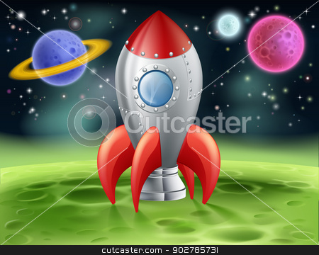 Cartoon Space Rocket on Alien Planet stock vector clipart, An illustration of a cartoon space rocket on an alien planet or moon by Christos Georghiou