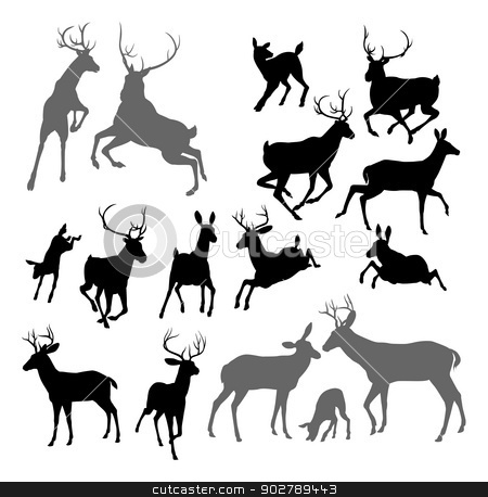 Deer animal silhouettes stock vector clipart, Silhouette Deer including fawn, doe bucks and stag. Also two stags fighting ans a family group set by Christos Georghiou