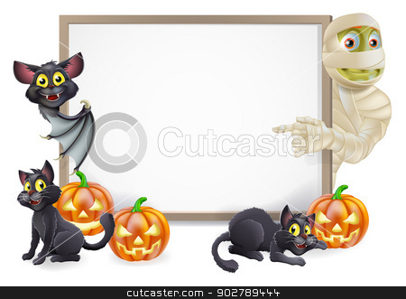 Halloween Sign with Mummy and Bat stock vector clipart, Halloween sign or banner with orange Halloween pumpkins and black witch's cats, witch's broom stick and cartoon mummy and vampire bat characters  by Christos Georghiou